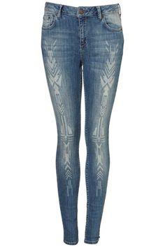 MOTO Native Burnout Skinny Jeans