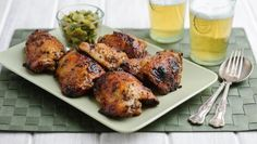 Sticky chicken thighs with lemon and honey |      Sweet and sticky with crisp skin, this recipe makes the most of chicken thighs.