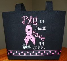 Pink Ribbon Breast Cancer Awareness Tote by carolinarags on Etsy, $50.00