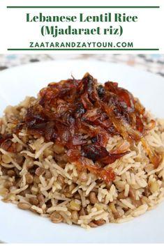 Lentil Rice by Zaatar and Zaytoun - Lebanese Recipes Lentil Recipes, Vegetarian Recipes, Cooking Recipes, Healthy Recipes, Bulgur Recipes, Rice Recipes Vegan, Vegan Vegetarian, Lebanese Recipes, Indian Food Recipes