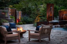 Looking for Contemporary Outdoor Space ideas? Browse Contemporary Outdoor Space images for decor, layout, furniture, and storage inspiration from HGTV. Outdoor Seating Areas, Outdoor Rooms, Outdoor Dining, Outdoor Decor, Outdoor Retreat, Outdoor Projects, Porches, Cozy Patio, Cool Fire Pits