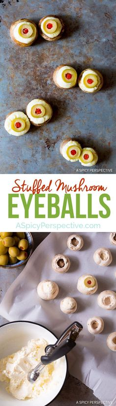 Spooky 5-ingredient Stuffed Mushroom Eyeballs for Halloween on ASpicyPerspective.com