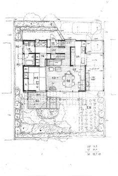 箕面の家|横内敏人建築設計事務所 Architecture Drawing Plan, Japan, House Layouts, Plan Design, Tiny House, House Plans, Palette, Floor Plans, How To Plan