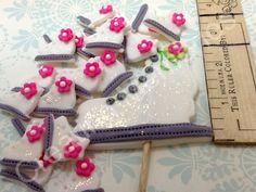 Mini Ice Skates Fondant Cupcake toppers/Mini Cupcakes/Cake Pops/Cookies for your Winter Party Edible Vanilla Fondant