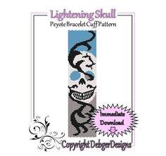 Lightening Skull - Beaded Peyote Bracelet Cuff Pattern