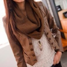 Brown scarf, leather jacket, lace blouse and black pants combination for fall