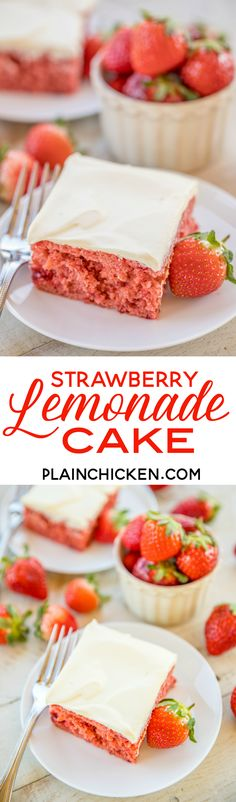 Strawberry Lemonade Cake - lemon cake mix and strawberry pie filling combine to make one amazing dessert!!! Top the cake with a quick cool whip lemon pudding frosting. This cake is the most requested cake I make! I have to bring it to all of the potlucks I'm invited to. It is always the first dessert to go and everyone asks for the recipe! Make it today! | Posted By: DebbieNet.com