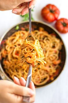Spicy Shrimp Spaghetti is an easy and delicious dish ready in 20 minutes. Shrimp cooked in butter-y tomato sauce with garlic and served with pasta. Shrimp Recipes For Dinner, Shrimp Pasta Recipes, Spaghetti Recipes, Shrimp Spaghetti, Snack Recipes, Cooking Recipes, Spicy Shrimp, Happy Foods, How To Cook Shrimp