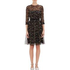 Erdem Chiffon Julie Dress featuring polyvore, fashion, clothing, dresses, black, black floral dress, black dress, floral chiffon dress, erdem dress and multi colored dress
