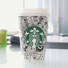 Starbucks coffee cup art by Jane Kim Starbucks Cup Art, Starbucks Drinks, Starbucks Coffee, I Love Coffee, Hot Coffee, Steve Madden Sunglasses, Coffee Cup Art, Doodle Coloring, White Cups