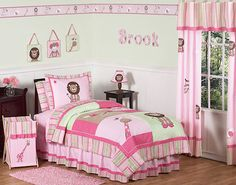 Pink Jungle Bedding for Girls Twin Full/Queen Comforter Sets Safari Animals Collection... wish I could have it for Logans room!
