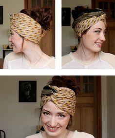 Tuto coiffure pour cheveux long : un chignon turban avec un foulard - RED BEAUTY   Blog beauté, mode, lifestyle
