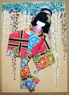 Japanese Paper Doll Template | ATC192 - Wisteria maiden