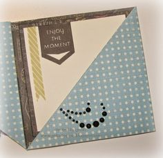Gina's Little Corner of StampinHeaven: May Stamp of the Month - Just Sayin' Blog Hop #Wanderful #ArtPhilosophy #trianglefoldcard - card open