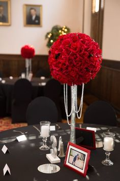 8 Wedding Centerpiece XL Velvet RED Rose Kissing Balls with Dripping Pearls
