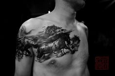 We shared really nice tattoos about horses. Horse tattoos will be trend for Many different tattoos here. If you love horses and enjoy spending Photomontage, Seele Tattoo, Blackwork, Animal Tattoos, Horse Tattoos, Tatto Design, Aquarell Tattoos, Fire Tattoo, Tattoo Motive