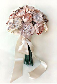 Image detail for -Bridal Fabric Flower Bouquet Custom Order by BurlapandBlingStudio
