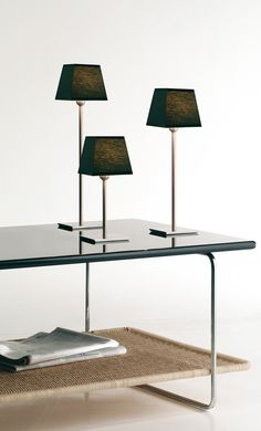 Name: Gibsi Design: Bover Studio, 2003 Notes: Available in black iron and satin nickel. Shade available in white, cream or red ribbon, black cotton and white cotton. Table Desk, Table Lamp, Led, Red Ribbon, Contemporary Interior, Lighting Design, Interior Design, Black Cotton, Home Decor