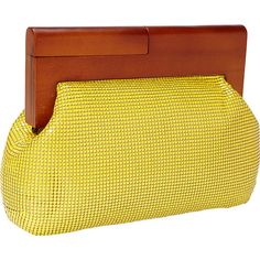 Whiting and Davis Heidi Wood FraMessenger Bagsd Messenger Bagssh... ($93) ❤ liked on Polyvore featuring bags, handbags, clutches, evening bags, yellow, yellow purse, man messenger bag, messenger handbag and yellow evening bag