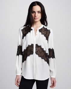 Lace-Stripe Blouse by Madison Marcus at Neiman Marcus.
