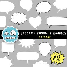 Clipart: Speech and Thought Bubbles Set for Personal and Commercial Use $