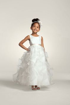 Vanity Fair Flower Girl Dress:  Organza dress with ruffled skirt and sash at waist.  Dress courtesy of David's Bridal Eastwood Mall.