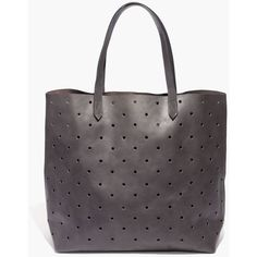 MADEWELL The Holepunch Transport Tote ($145) ❤ liked on Polyvore featuring bags, handbags, tote bags, sleek charcoal, genuine leather tote, leather tote bags, leather sling purse, perforated tote and genuine leather handbags