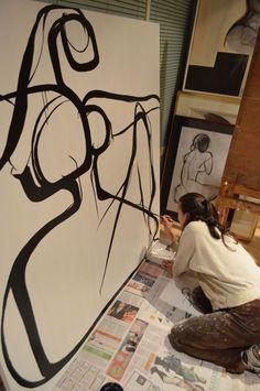 "carmeljenkin-art: "" at work in my studio """