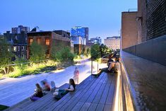 highline seating steps - Google Search High Line Ny, Indirect Lighting, Entry Way Design, Landscape Lighting, Night Time, Cool Pictures, Art Photography, New York, Park