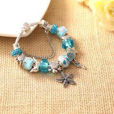 HOT 2017 Fashion Heart Key Tortoise Charm Bracelet Blue Crystal Glass Beads  Bracelets   Bangles for Women Jewelry Gift 5bab10fc9b12