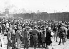 Selection at the Auschwitz ramp in 1944, where the Nazis chose whom to kill immediately and whom to use as slave labour or for medical experimentation. The entrance to the main camp is in the background. Between 1.1 and 1.6 million people were killed at Auschwitz; over 90% of the victims were Jews.