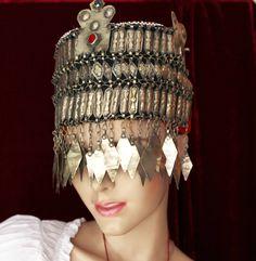 Turkmenischer Kopfschmuck, Vintage turkmenischer Tribal Hochzeits-Kopfschmuck, Turkmenischer Hochzeitschmuck, Brautschmuck von neemaheTribal auf Etsy