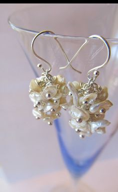 Off White Keshi Pearl Earrings by JewelryByRMSmith on Etsy, $22.00