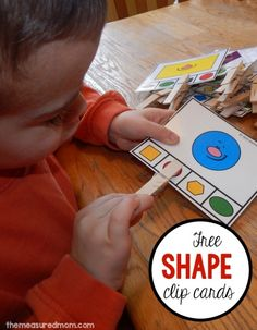 Shape Clip Cards (free; from The Measured Mom)