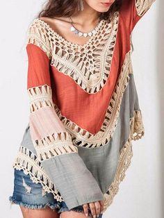 Nadia Colour-block Hollow Crochet Loose Top