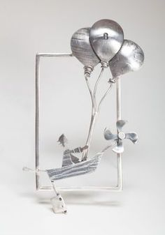 balloon boating silver srame with boy in a boat, propeller frame, could be a brooch or pendant abstract / outline art Silver Jewelry Box, Metal Clay Jewelry, Sea Glass Jewelry, Heart Jewelry, Wire Jewelry, Jewelry Art, Vintage Jewelry, Jewelry Design, Silver Bracelets