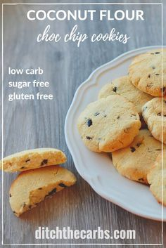 2g net carbs. Quick and easy sugar free, gluten free, coconut flour chocolate chip cookies. | ditchthecarbs.com