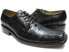 MEN'S DARK BROWN GENUINE CROCODILE ALLIGATOR & OSTRICH SKIN DRESS SHOES EXOTIC