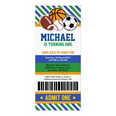 Sports Birthday Invitations All Star Sport Ticket Pass Birthday Invitation