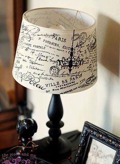 Believe it or not, this French-style lampshade could be your next DIY project! Once you see the tutorial, you'll realize how EASY it actually is...awesome! SIMILAR TO THE SMALL ONE I HAVE--