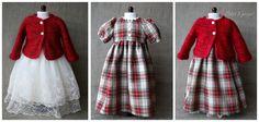 Tenue romantique : robe à carreaux en coton, jupe en organza, cardigan tricoté en fil mohair et lurex