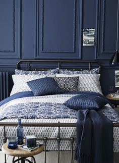 Indigo Bedroom by sainsbury's autumn winter 2014Farrow and Ball Hague or Stiffkey or Deep Space and Marine from Little Greene and Venetian Crystal and Wild Water from Dulux