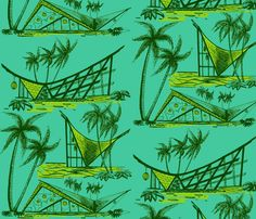 A-frames, poolside fabric by sophista-tiki on Spoonflower - custom fabric