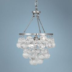 Robert Abbey Bling Polished Nickel and Glass Pendant Light - #1C629 | LampsPlus.com  over the bath tub?