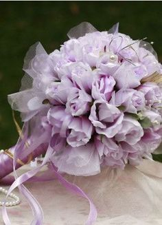 Gorgeous Purple Silk Cloth Beaded Wedding Bouquets For Brides - Wedding Flowers - Accessories