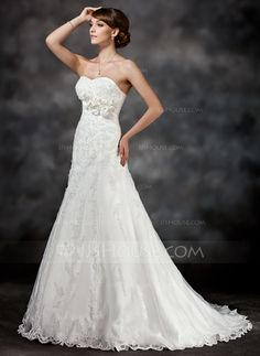 Wedding Dresses - $236.99 - A-Line/Princess Sweetheart Court Train Satin Tulle Wedding Dress With Lace Flower(s) Sequins (002017416) http://jjshouse.com/A-Line-Princess-Sweetheart-Court-Train-Satin-Tulle-Wedding-Dress-With-Lace-Flower-S-Sequins-002017416-g17416?ver=0wdkv5eh
