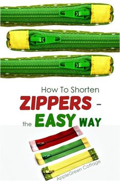 Would you like to have your zipper bags to have a professional look - without a lot of work? Learn how to shorten a zipper and then sew fabric tabs to each end of the zipper to give it some more color and style. And you won't believe how easy it is! Easy Sewing Projects, Sewing Projects For Beginners, Sewing Hacks, Sewing Tutorials, Sewing Tips, Sewing Ideas, Sewing Lessons, Sewing Crafts, Zipper Crafts