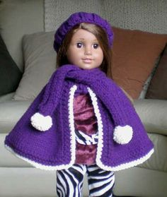 Doll Clothes for American Girl Doll, Purple Winter Coat Cape Set by FirenSand for $20.00 #zibbet