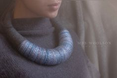 Guzik Prawda #necklace #handmadenecklace #threadwrapped #bignecklace #oversize #statement #wool #handmade