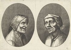 Anonymous   Goê Geurtjen en Kribbighe Babbe, Anonymous, Pieter Brueghel (I), 1612 - 1702   Prent uit een serie van 12 prenten met koppen van boeren en boerinnen.